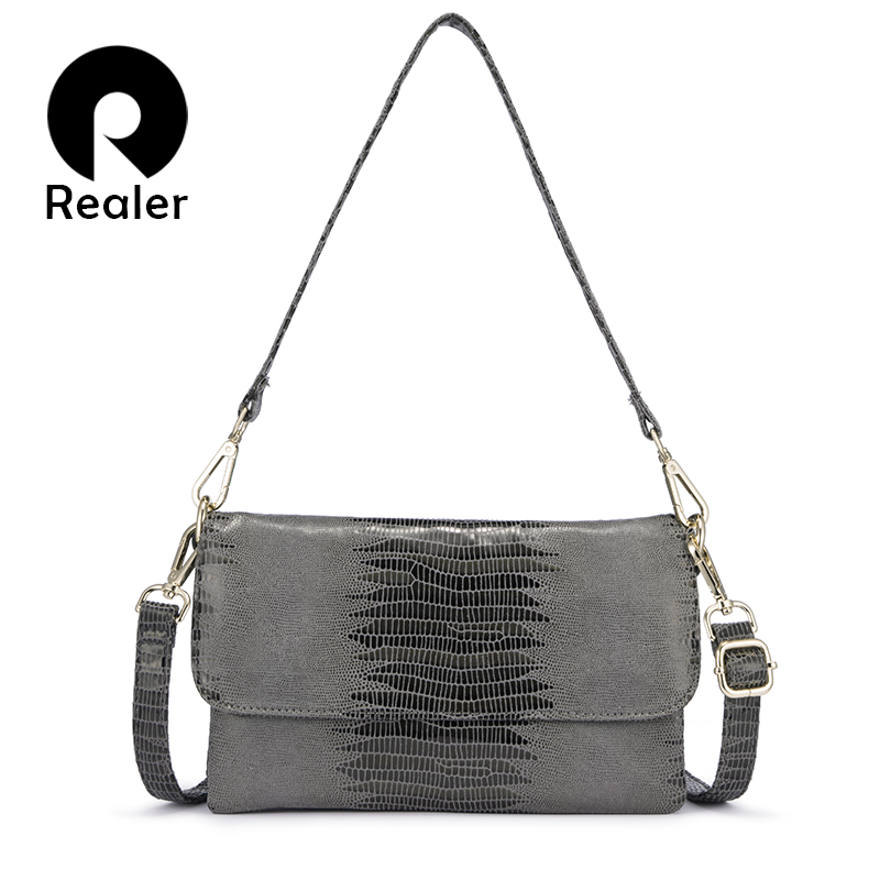 REALER Women Shoulder Bag Luxury Handbags Women Bags Designer Crossbody Bags For Women 2019 Animal Prints Clutch Evening Bags