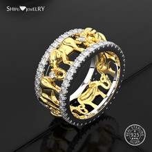 Shipei 100% 925 Sterling Silver Fine Jewelry Vintage Yellow Gold White Sapphire Cute Elephant Ring for Women Men Birthday Gift