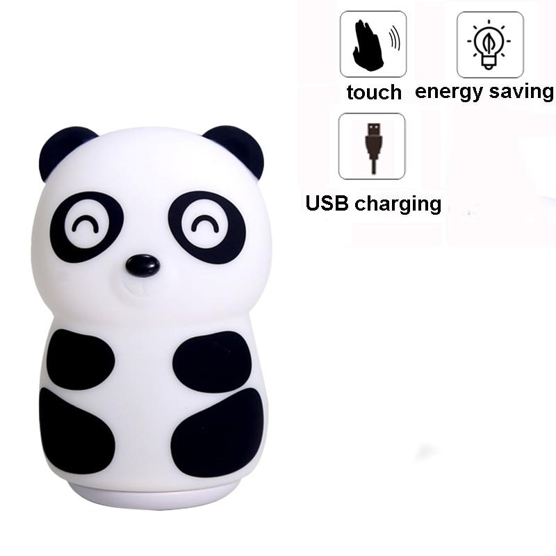 Panda LED USB Children Animal Novetly Light Touch Sensor Tap Control Pat Light Baby Kids Nursery Bedroom Besdide Decoration Lamp