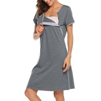 Maternity Short Sleeve Nursing Breastfeeding Dress 1