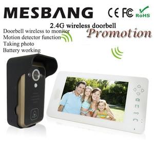 Image 2 - Hot 2,4G wireless video türklingel drahtlose tür video intercom telefon tür glocke intercom Kamera 7 zoll monitor schwarz weiß farbe