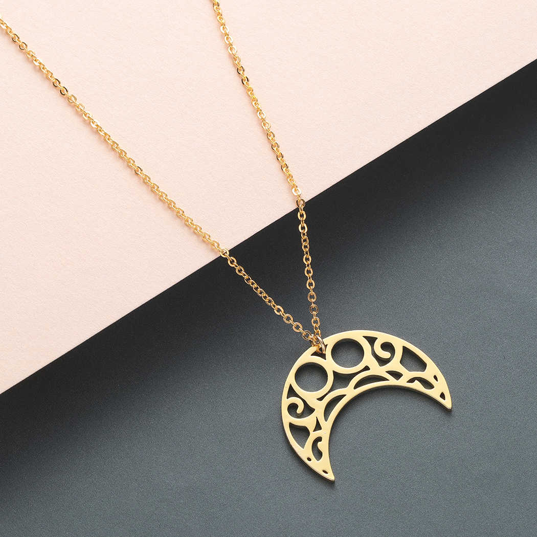Todorova Infinity Horn Charm Necklaces & Pendants Curved Crescent Moon Necklace Women Stainless Steel Jewelry Gift Male