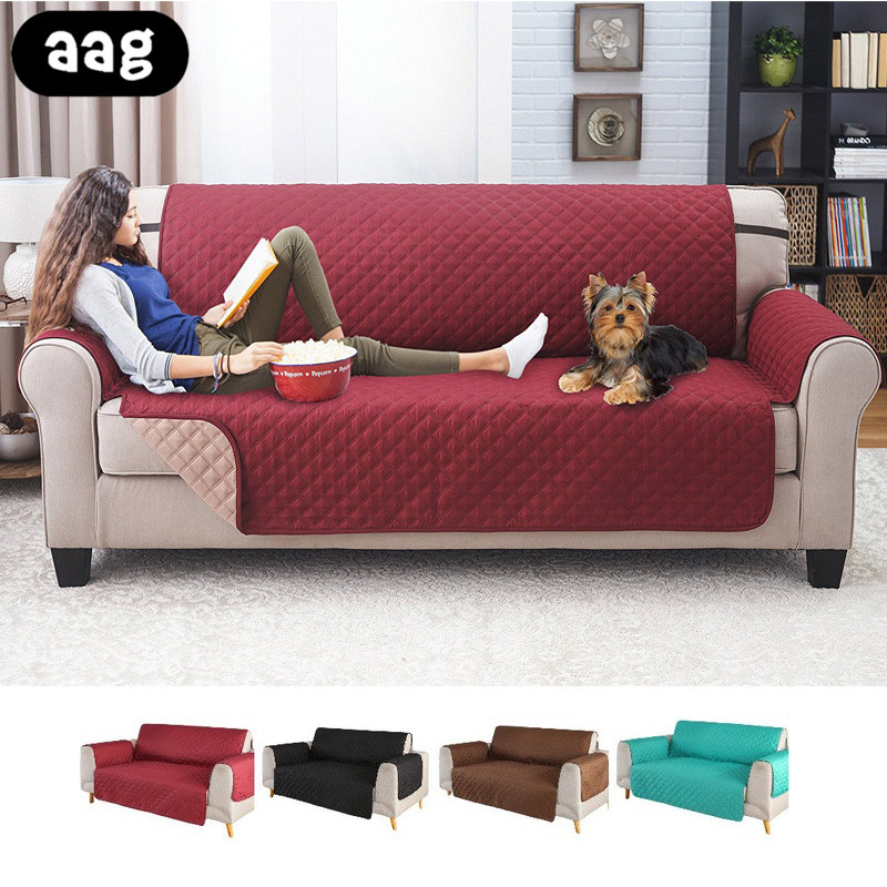 AAG 1/2/3 seater sofa armrest slipcovers Solid Plaid Sofa Cover waterproof washable pet dog sofa protector couch covers mat