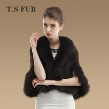 2016 New Genuine Knit Mink Fur Shawl Fox Trimming Real Mink Fur Poncho Fashion Women Mink