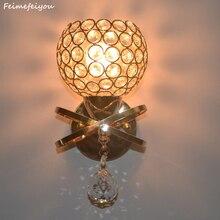 Feimefeiyou современного искусства Декор нержавеющая сталь покрытие привело кристалл настенный светильник лампа спальни дома Бра Освещения