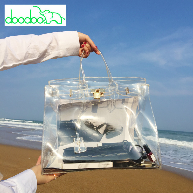 Famous Brand PVC Tote Bags Clear Jelly Transparent Big Bag Large Capacity Platinum Handbags Female Beach Bag Chain Shoulder Bags все цены