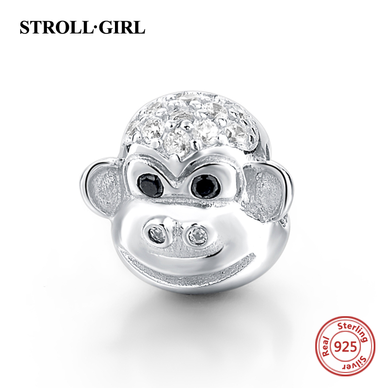 Humorous 2018 Lucky Animal Monkey Charms Original Beads Fit Authentic European Bracelets Pendant Sterling-silver-jewelry For Women Gift Beads