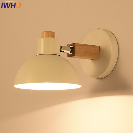 IWHD Nordic Style Arm Wall Sconce LED Wall Lamp Modern Iron Wall Light Fixtures Stairway Lighting Wandlamp Bedroom Abajur top grade wood handcrafted swing arm light sconce led wall lamp nordic style home decoration lighting e27 black with switch
