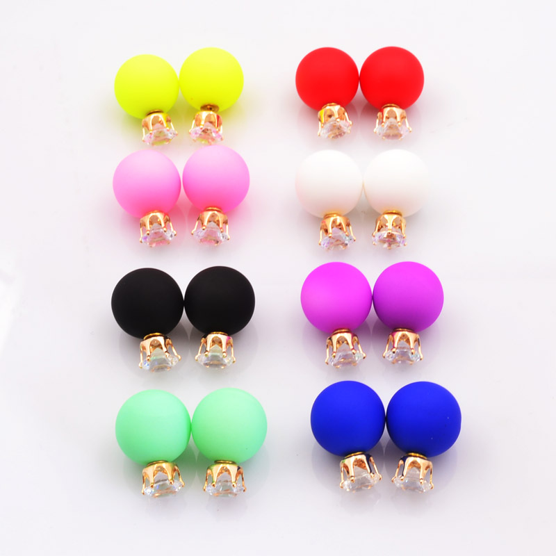 Stud Earrings: New Fashion jewelry double side crystal 16MM pearl Frosted matte stud earring gift for women girl mix color E2657