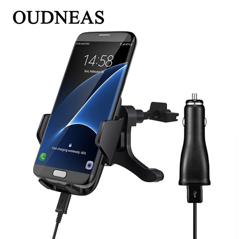 Oudneas автомобиля Беспроводной Зарядное устройство мобильного телефона держатель Ци Беспроводной зарядки 5 В 2A Доль <font><b>USB</b></font> Автомобильное Зарядно&#8230;