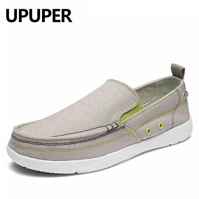UPUPER zapatos de lona hombres, zapatos casuales transpirables ultraligeros para hombres, mocasines cómodos de Primavera Verano zapatos planos de conducción perezosos para hombres