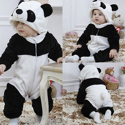 Baby Boy Girl Kids Warm Winter Panda Animal Overall Thicken Long Sleeve Flannel Romper Clothes 6M--3T baby clothes winter keep warm flannel baby rompers baby boy girl coat next romper newborn kids clothes jumpsuit set