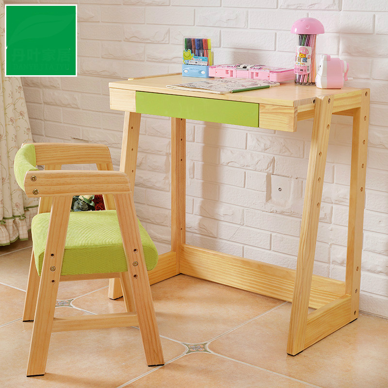 Children Learn Simple Modern Solid Wood Tables And Chairs Set Lifting Student Desks And Chairs Combined Style Children Desk