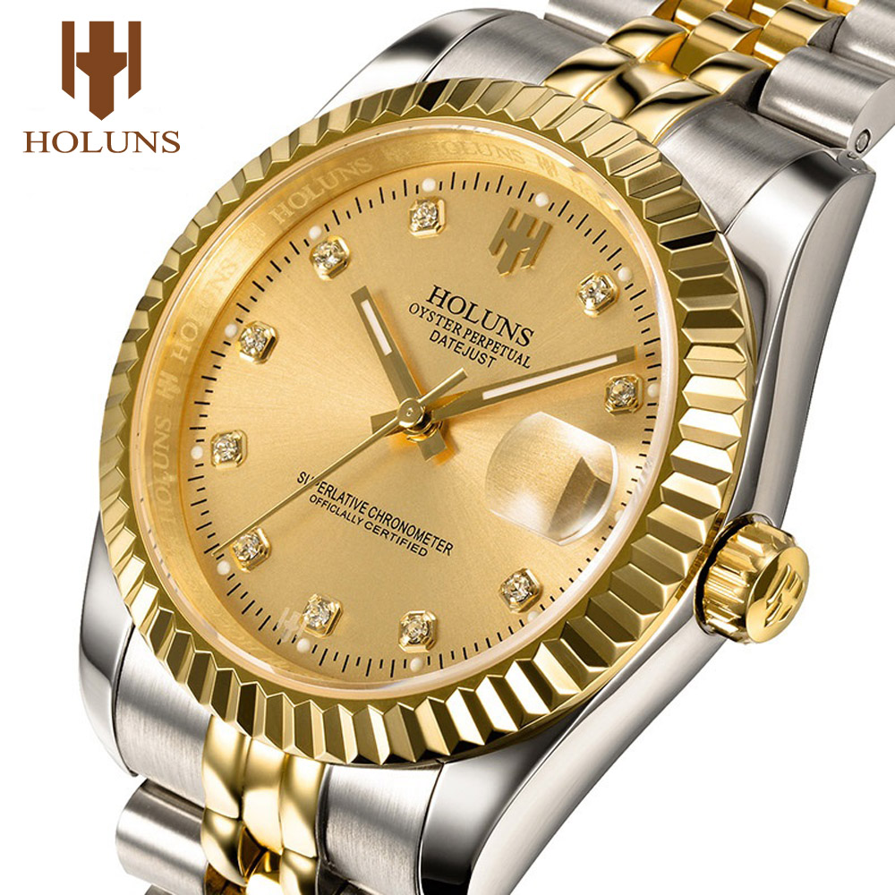 HOLUNS Watches Mechanical-Watch Automatic Diamond Steel Luxury Brand Relogio Gold Masculino