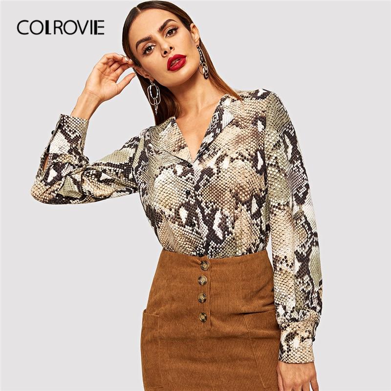 COLROVIE V Neck Snake Print Single Breasted Elegant Blouse Women 2019 Winter Fashion Office Ladies Shirts Korean Vintage Tops