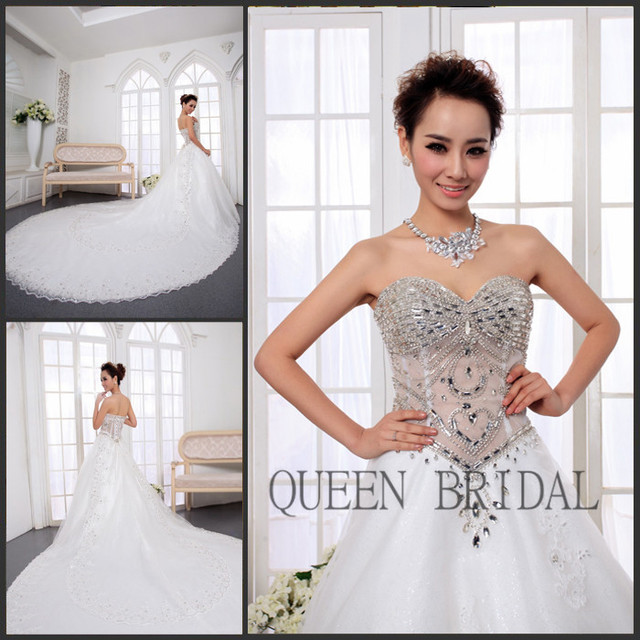 Princess pearls applique lace ball gown crystals wedding dress ...