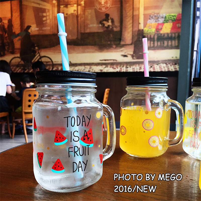 Summer Star Straw Mason Jar Transparent Glass Bottle for Ice-cream Tea Beer Beverages Eco-Friendly Cover with Hole ...