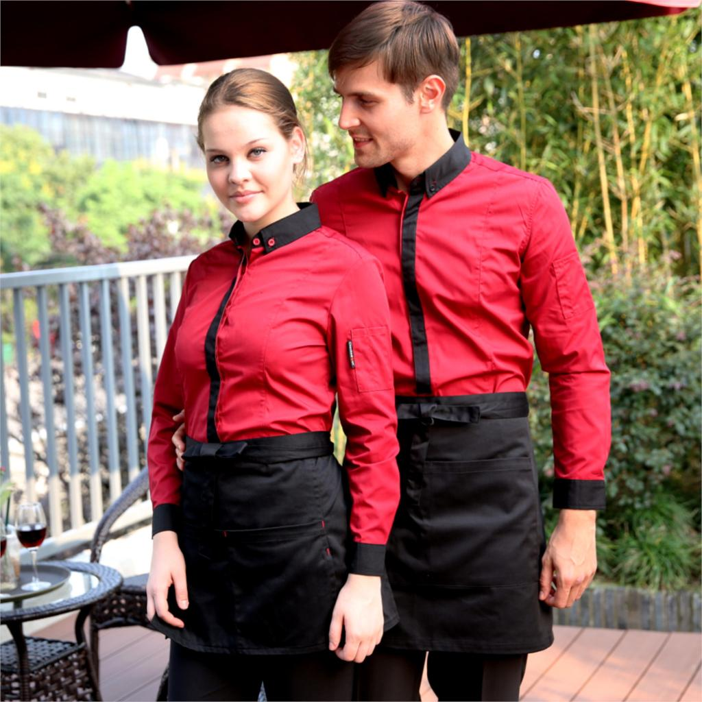 Free Shipping Classical Black Hotel Waiter Overalls