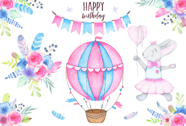 Baby Girls Birthday Decoration Wall Flower Hot Air Balloon