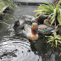 4Pcs Green Winged Duck Hunting Decoys Plastic Decoys Lifelike 3D Simulation Bait with Keel Decoy Garden Pool Decoration