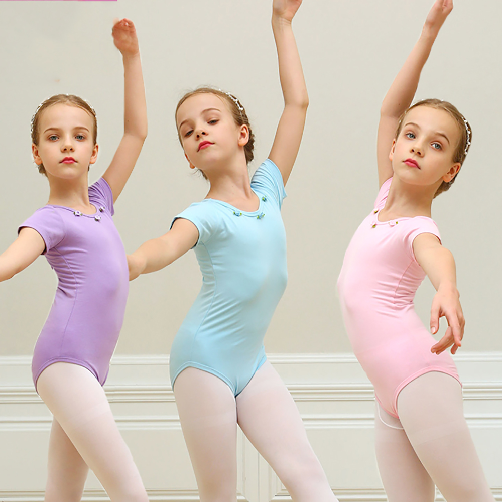 bfc371541 Cheap Ballet Tutu Dance Leotard For Girls Cotton 3 Color Short ...