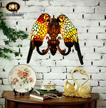 Living room dining bedside aisle Tiffany retro parrot stained glass Villa Club wall lamp