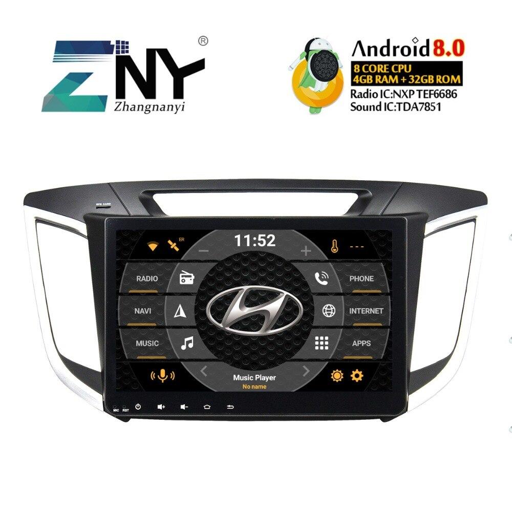 4 GB 10.1 IPS Android 8.0 Stéréo De Voiture Pour Hyundai Creta IX25 2014 2015 2016 2017 2018 Radio FM GPS Navigation Arrière Caméra No DVD