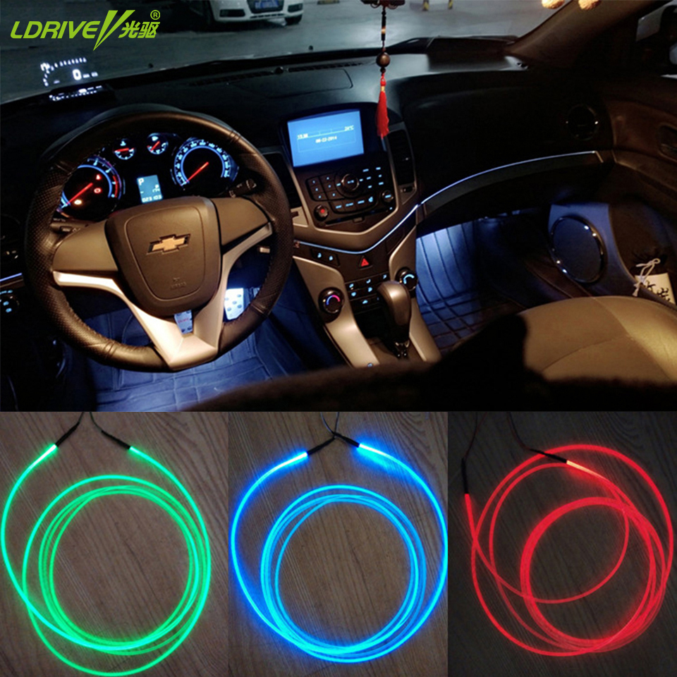 New 5pcs Lot Auto Soft Diy Decorative Interior Lights Refit Optic Fiber Car Atmosphere Lights