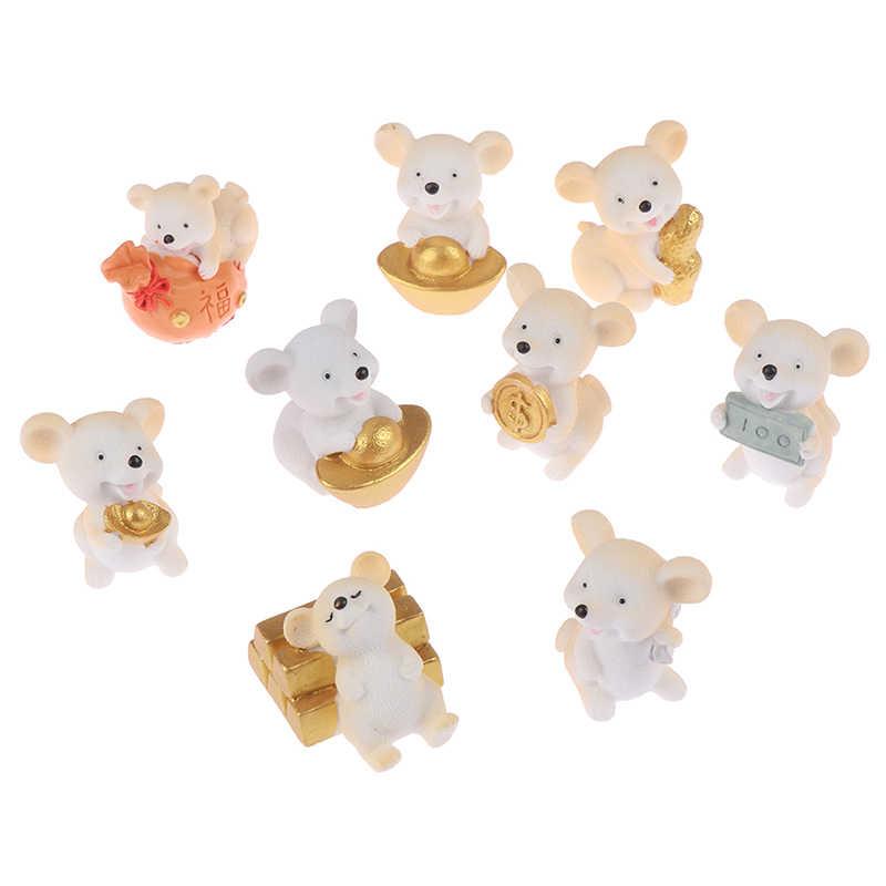 מזל מזל קריקטורה עכבר פיות גן מיניאטורות מטיל זהב מטבע Kawaii עכבר מיקרו נוף קישוט DIY קרפט