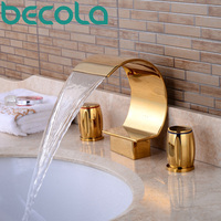becola waterfall basin faucet gold plated brass dual handle bathroom sink tap hot and cold water bathtub Faucet S 208G