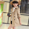 children girls coat 2016 new Spring autumn girl jacket long design turn-down collar double breasted kids outerwear trench coat