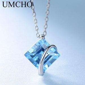 Image 3 - UMCHO collar de plata de primera ley y Topacio azul para mujer, Gargantilla, plata esterlina 925, Gema Natural, 3,4 quilates, boda