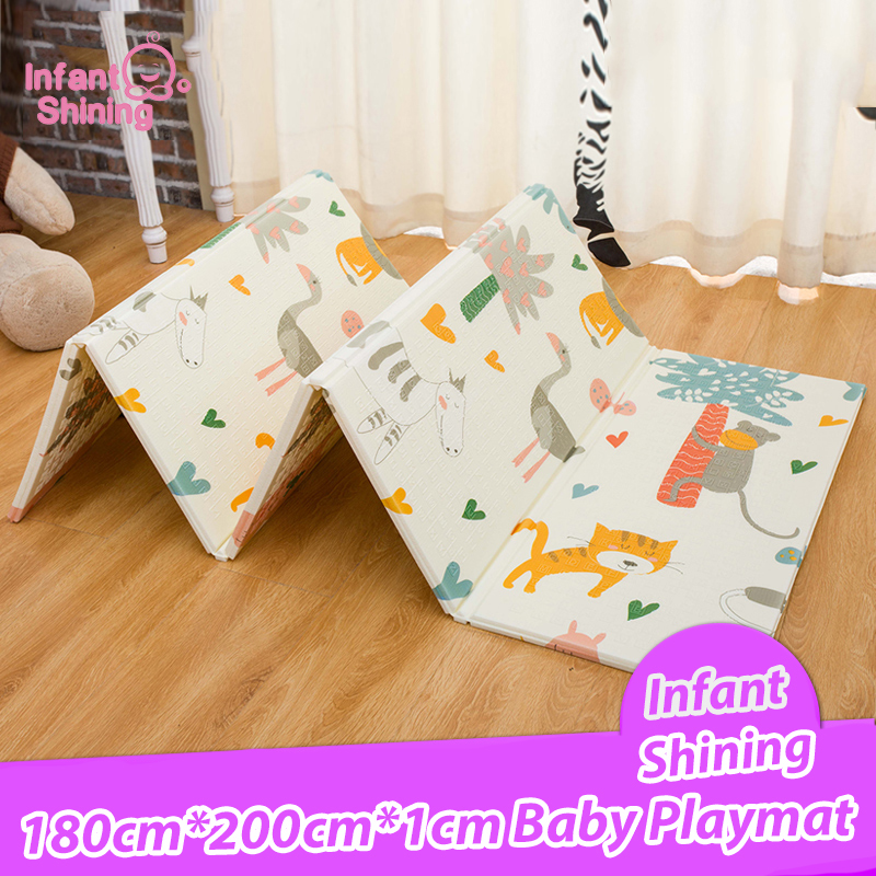 Infant Shining 200*180*1cm Foldable Baby Play Mat Eco friendly XPE Children Playmat Cartton Non slip Carpet Living Room Mat-in Play Mats from Toys & Hobbies