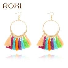 ROXI Vintage Bohemian Handmade Cotton Tassel Earrings for Women Ethnic Fringe Drop Earrings Party Jewelry 2017 Bijoux