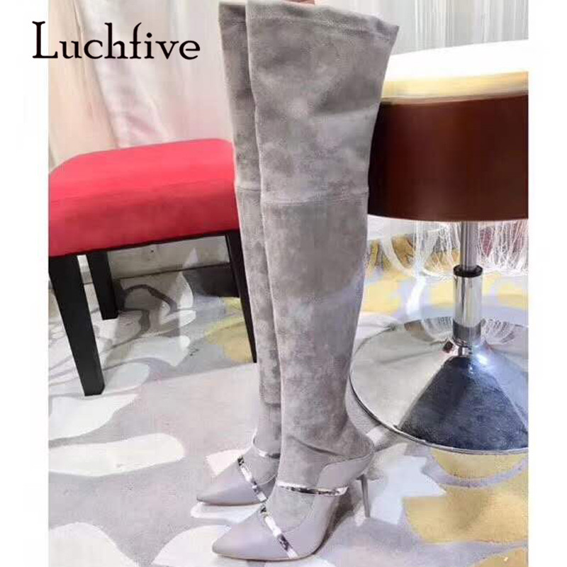 2018 New Sexy Over The Knee Boots Woman Pointed Toe Double Belt Strap High Heel Boots Women Side Zipper Stretch Long Boots 2018 New Sexy Over The Knee Boots Woman Pointed Toe Double Belt Strap High Heel Boots Women Side Zipper Stretch Long Boots