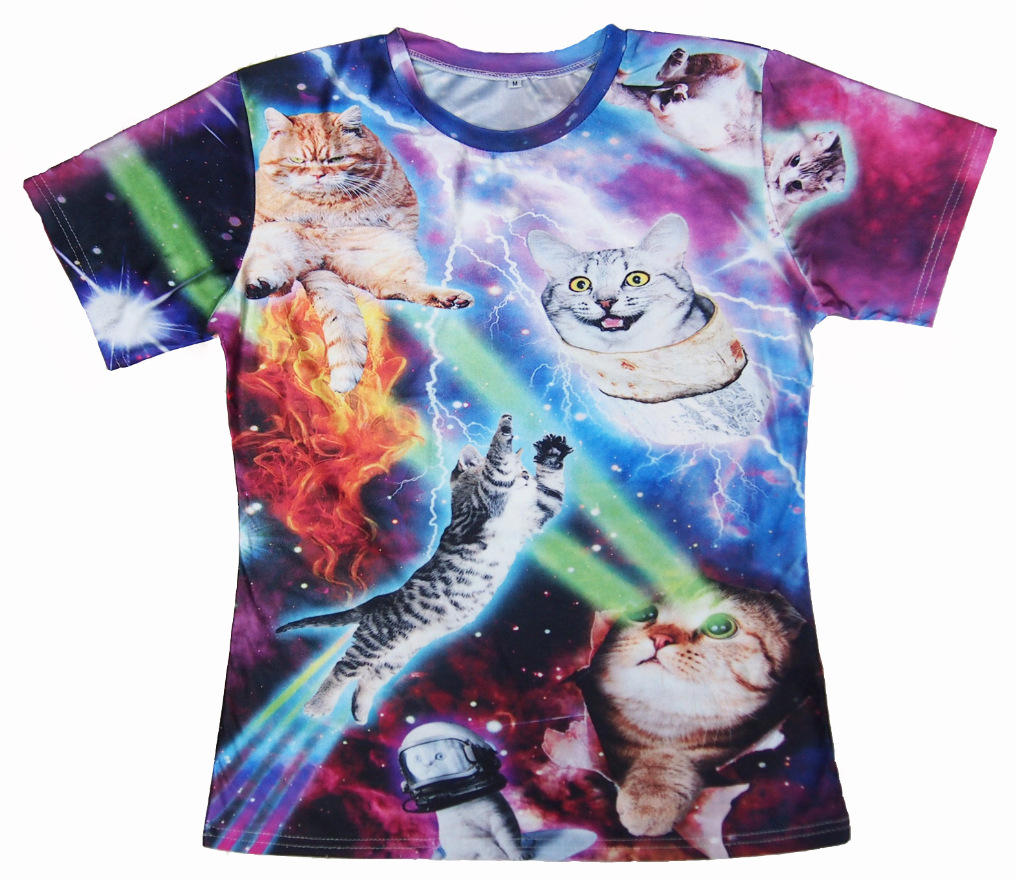 Cool Cat 3D Printed T shirts Harajuku Disco Kitten Graphic Tee
