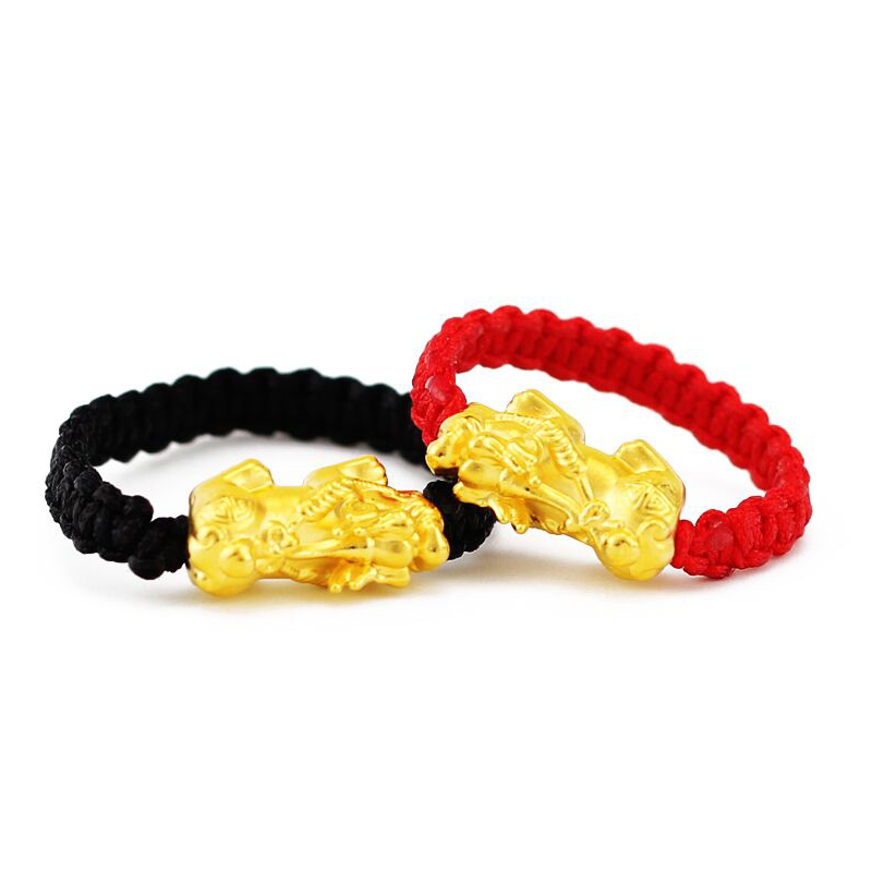 1pcs Real 24K Yellow Gold Ring Woman's Luck Pixiu Red Black Rope Knitted Weaving Ring For Women Man US 5-10
