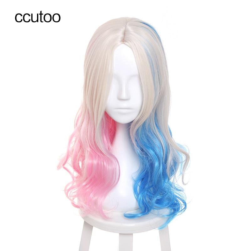 "ccutoo 26 ""Blonde Blue Pink Mix Falisty Batman Samobójstwo Squad Harleen Quinzel Harley Quinn Party Peruki syntetyczne Włosy Cosplay Peruki"