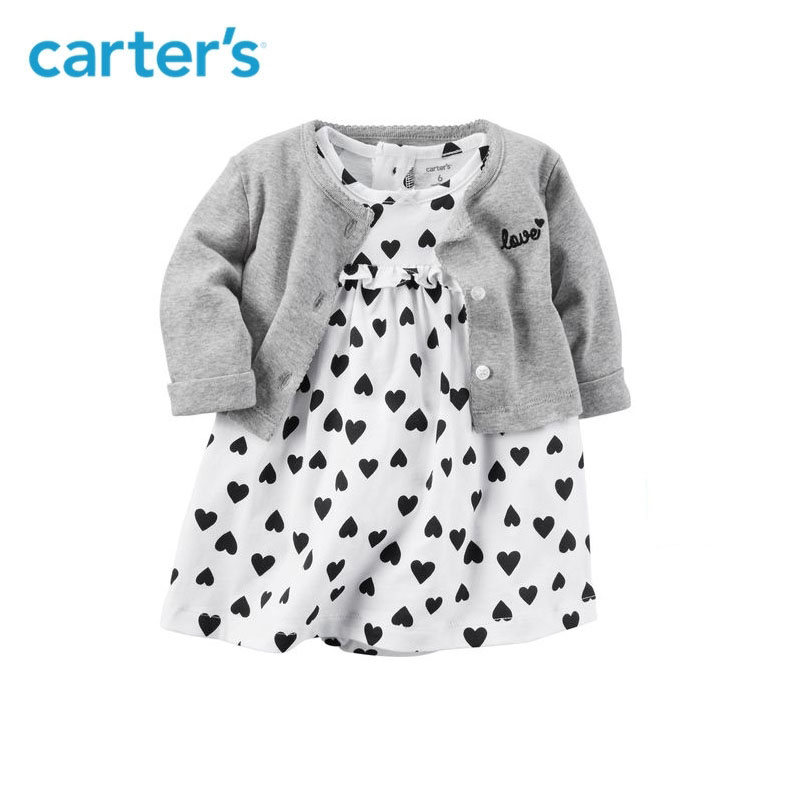 2pcs clothing sets sweet heart bodysuit dress with a cardigan Carter's baby girl cotton Spring Summer Fall 126H362