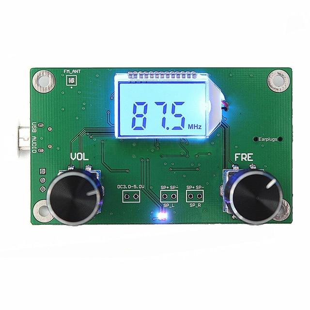 1Pc 87 108MHz DSP & FM Módulo Receptor de Rádio Stereo PLL LCD Digital + Controle de Série