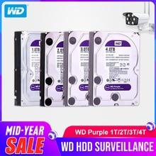 Жесткий диск Western Digital WD фиолетовый HDD для наблюдения 1 ТБ 2 ТБ 3 ТБ 4 ТБ SATA 6,0 ГБ/сек. 3,5 «жесткий диск для CCTV камера AHD DVR IP NVR