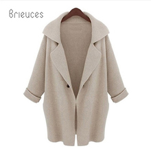 Brieuces autumn winter new high quality  full regular solid turn-down collar single button loose casual coat women