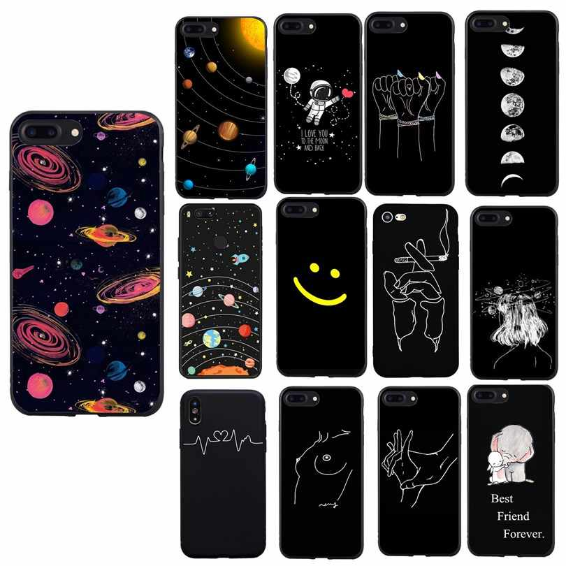 Phone Cover For Huawei P Smart 2018 Case Line Print Silicon For Funda Huawei P8 P9 Lite 2017 P10 P20 Lite Mate 10 Lite Cases