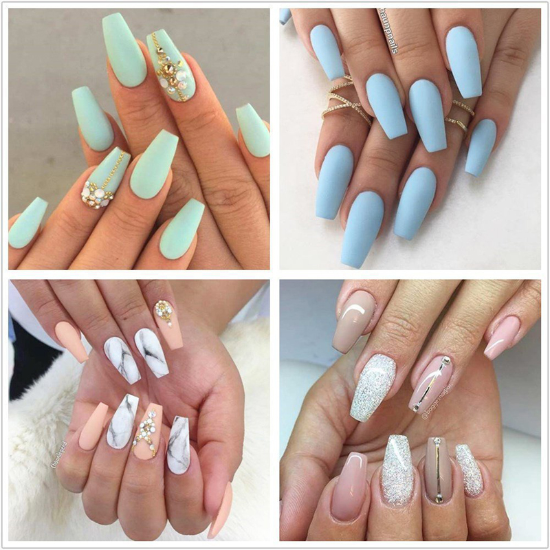 100PCS/Box Ballerina Nails Acrylic False Nails Full Cover Natural ...