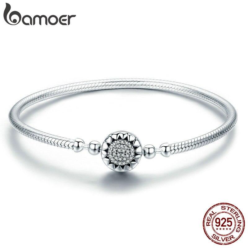 BAMOER 2018 New Authentic 925 Sterling Silver Bright Heart AAA Zircon Women Snake Chain Bracelet Sterling