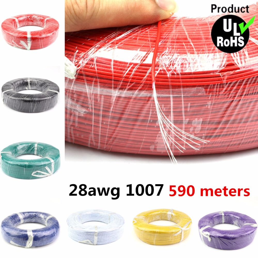 590 Meters a roll Flexible Stranded of 28AWG 10 Colors UL1007 OD1.2mm Environmental PVC Electronic Wire 30meters white 28awg ul1007 cable electronic wire to internal wiring electrical wires diy cables 100ft 28 awg