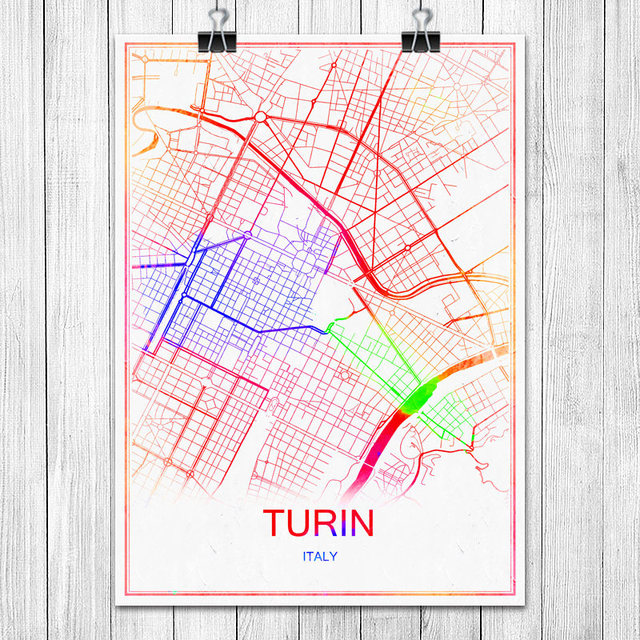 Turin Italy Colorful World City Map Print Poster Abstract Coated
