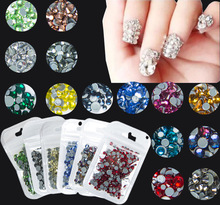 400pcs 30Colors Mix Sizes Nail Art HotFix Rhinestones Crystal AB,DIY Flatback 3D Hot Fix Rhinestones Glass Nail Decoration
