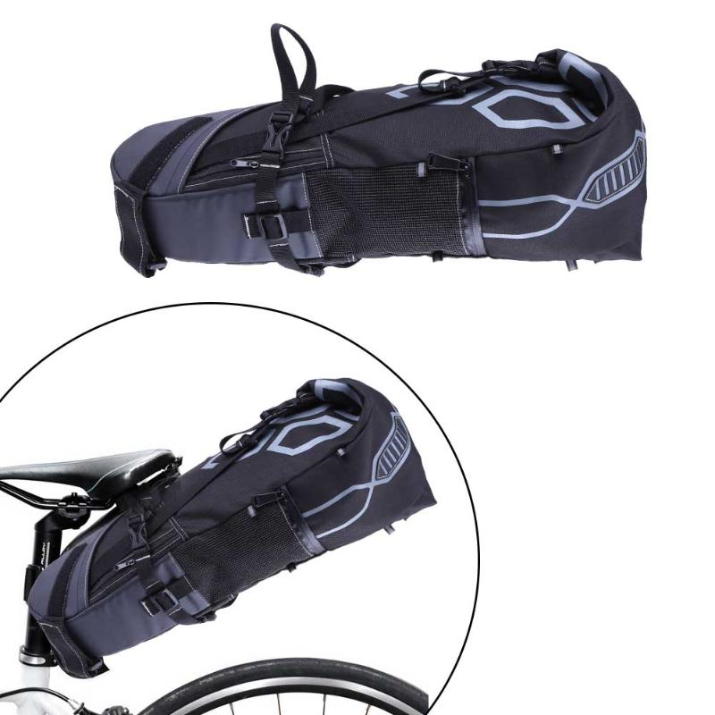 B-SOUL 10L Bike Bag Bicycle Saddle Tail Seat Waterproof Storage Bags Cycling Rear Pack Painners Accessories 63*28*14cm Freeship