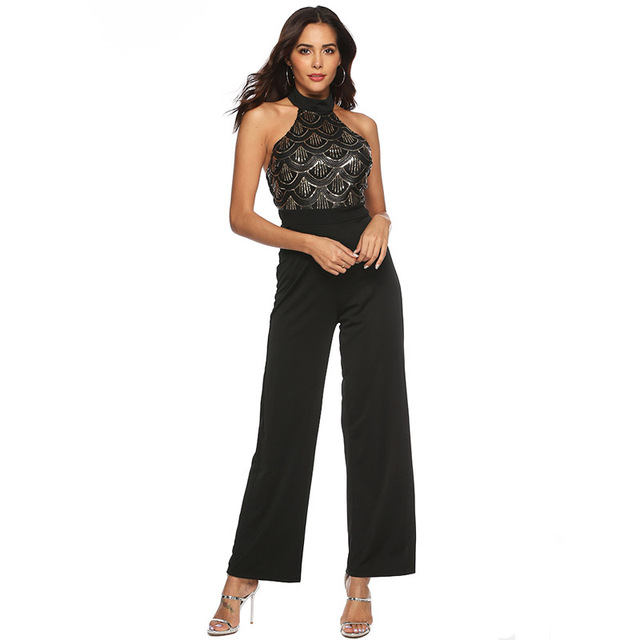841dff75efd Rompers Womens Jumpsuit 2019 Elegant Party Evening Sleeveless Fashion  Bodycon High Waist Long Pants Wide Leg Black Jumpsuit 45